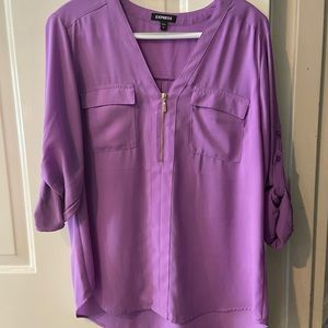 Express Women's Large Purple V-Neck Blouse